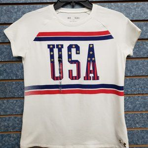 UNDER ARMOUR USA WHITE SHIRT WOMAN SIZE L